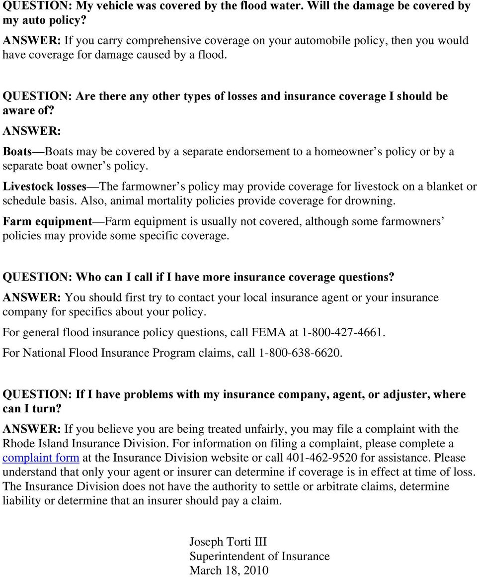 QUESTION: Are there any other types of losses and insurance coverage I should be aware of?