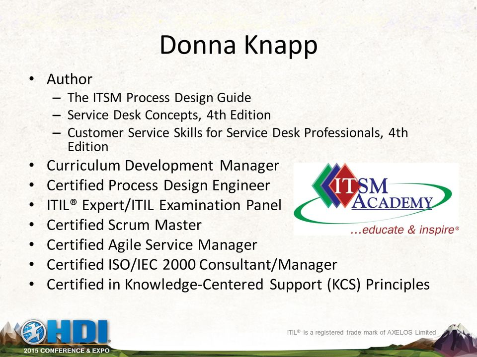 Expert/ITIL Examination Panel Certified Scrum Master Certified Agile Service Manager Certified ISO/IEC 2000