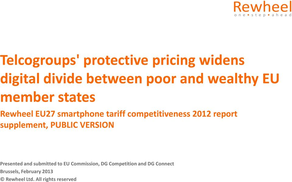 competitiveness 2012 report supplement, PUBLIC VERSION Presented and submitted to EU