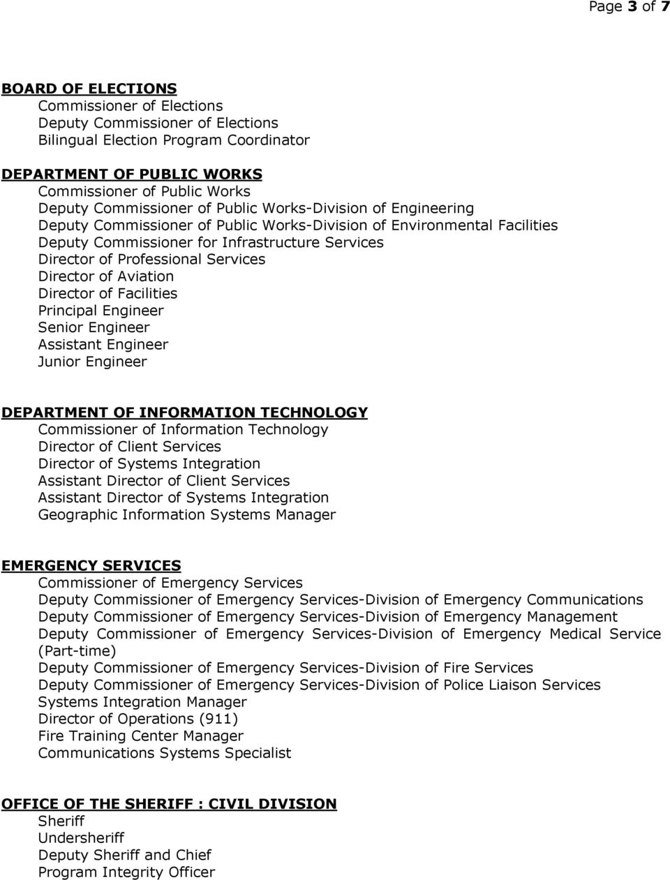 Services Director of Aviation Director of Facilities Principal Engineer Senior Engineer Assistant Engineer Junior Engineer DEPARTMENT OF INFORMATION TECHNOLOGY Commissioner of Information Technology