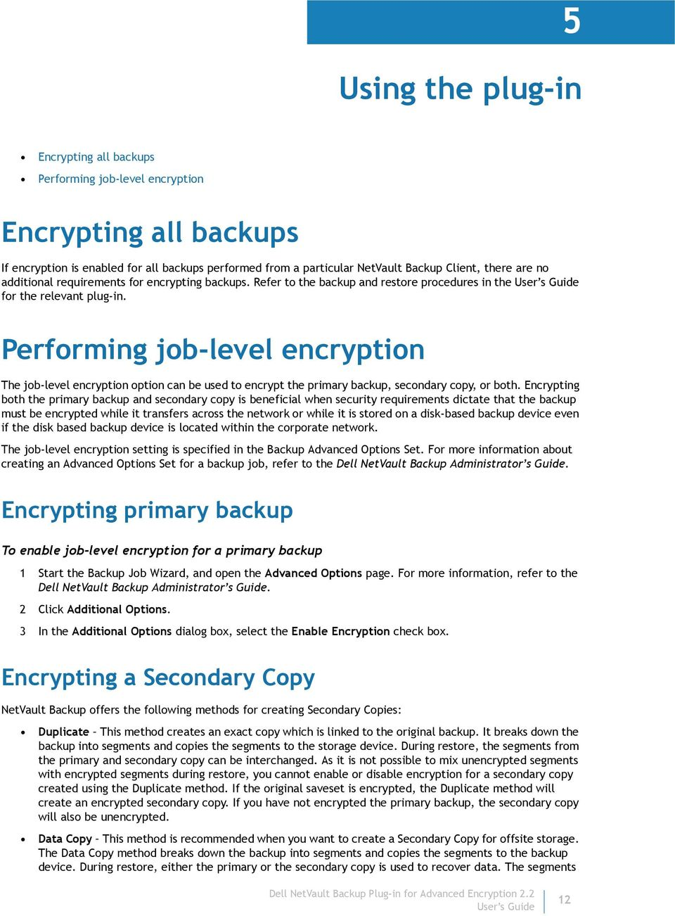 Performing job-level encryption The job-level encryption option can be used to encrypt the primary backup, secondary copy, or both.