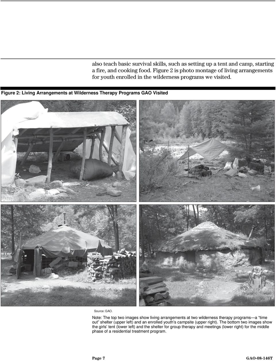 Figure 2: Living Arrangements at Wilderness Therapy Programs GAO Visited Source: GAO.