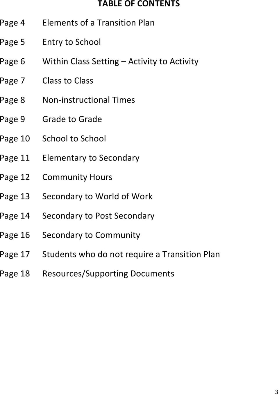 Non-instructional Times Grade to Grade School to School Elementary to Secondary Community Hours Secondary to World of