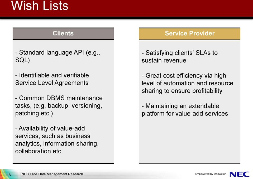 ) - Satisfying clients SLAs to sustain revenue - Great cost efficiency via high level of automation and resource sharing to ensure