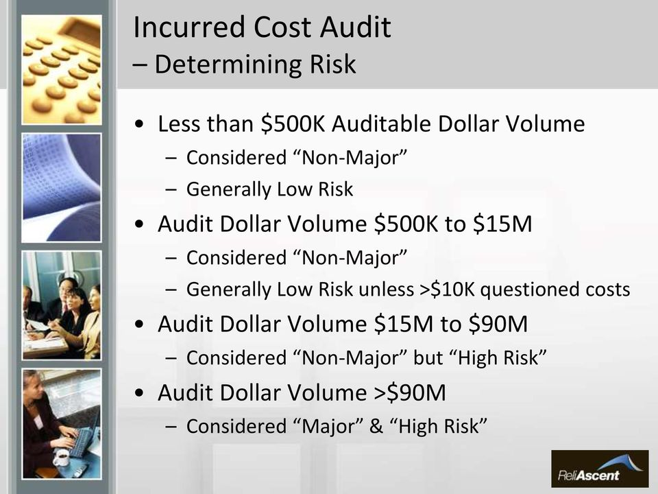 Non-Major Generally Low Risk unless >$10K questioned costs Audit Dollar Volume $15M