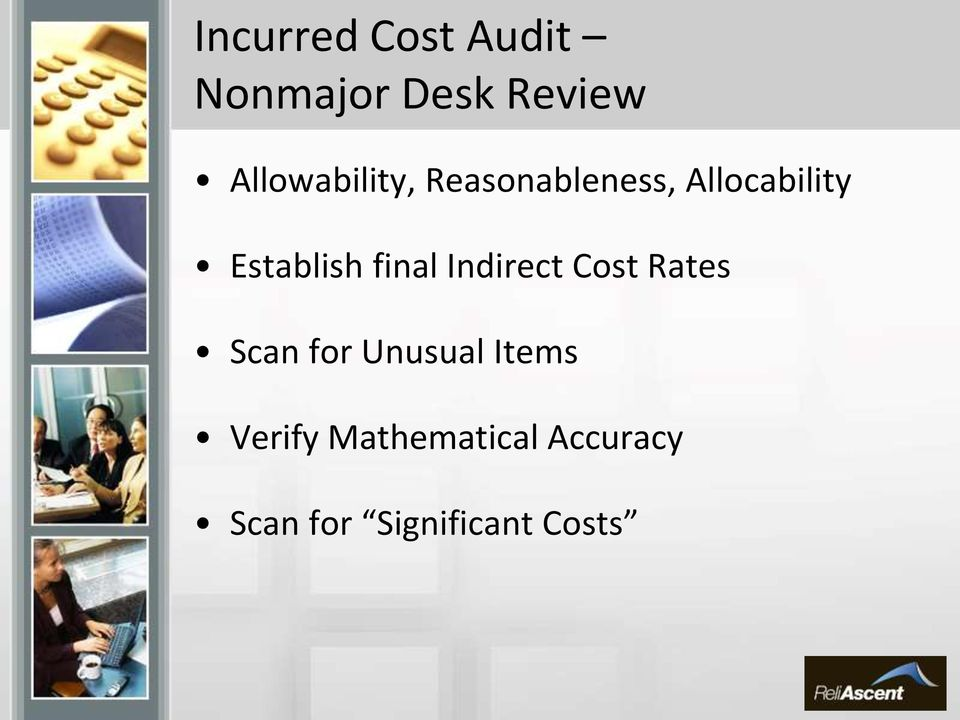Establish final Indirect Cost Rates Scan for