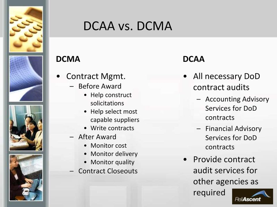Award Monitor cost Monitor delivery Monitor quality Contract Closeouts DCAA All necessary DoD