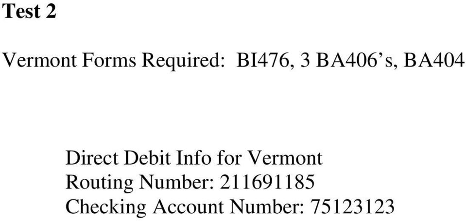 Debit Info for Vermont Routing