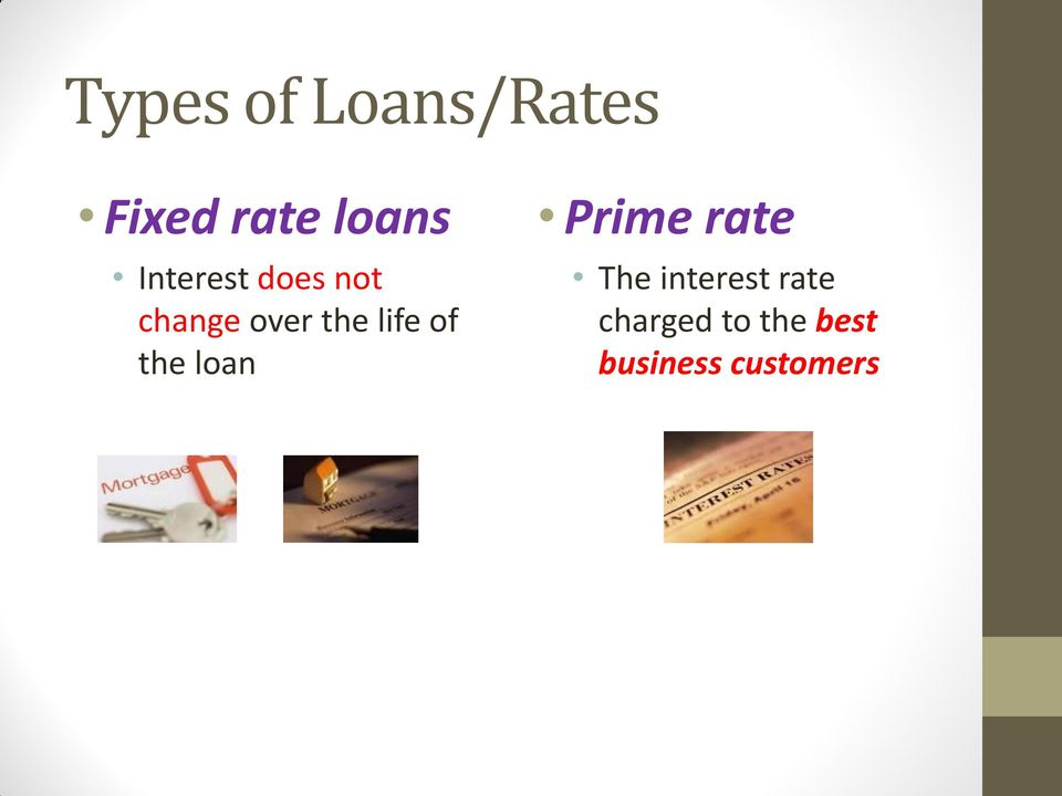 of the loan Prime rate The interest