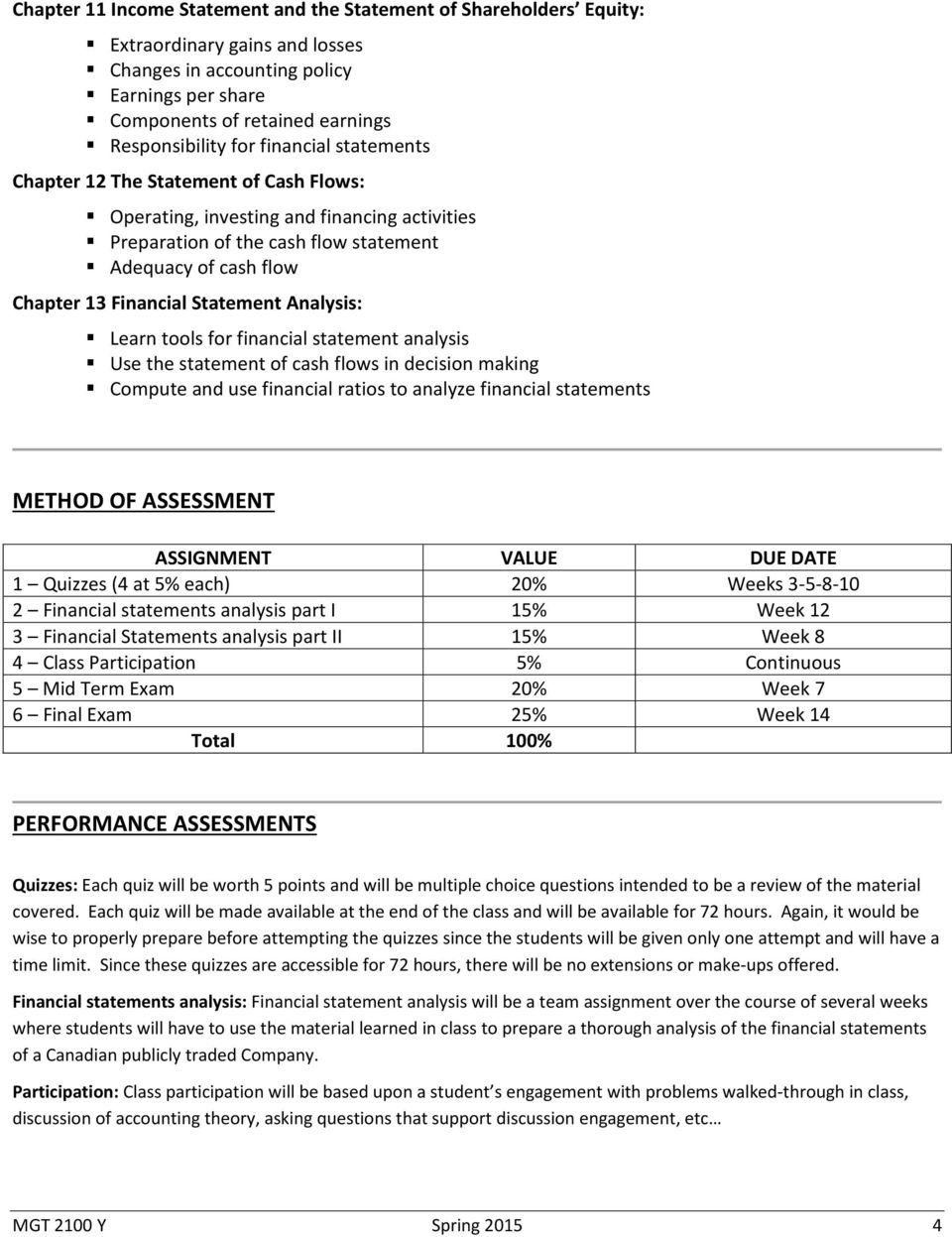 Analysis: Learn tools for financial statement analysis Use the statement of cash flows in decision making Compute and use financial ratios to analyze financial statements METHOD OF ASSESSMENT