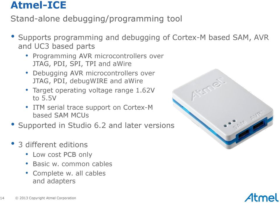 Target operating voltage range 1.62V to 5.5V ITM serial trace support on Cortex-M based SAM MCUs Supported in Studio 6.