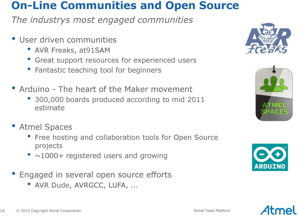 produced according to mid 2011 estimate Atmel Spaces Free hosting and collaboration tools for Open Source projects ~1000+ registered