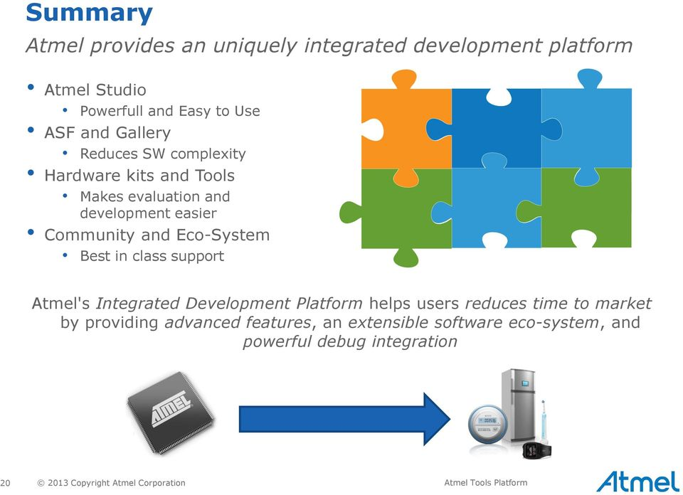 Best in class support Atmel's Integrated Development Platform helps users reduces time to market by providing advanced