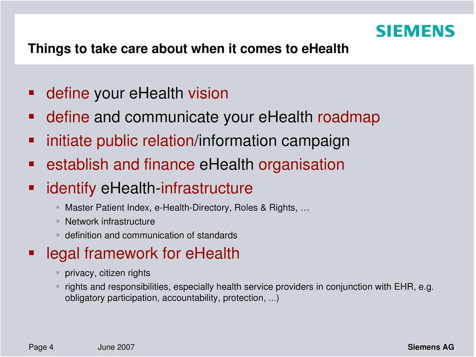 Roles & Rights, Network infrastructure definition and communication of standards legal framework for ehealth privacy, citizen rights rights and