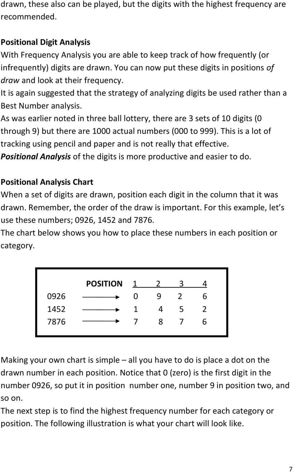 You can now put these digits in positions of draw and look at their frequency. It is again suggested that the strategy of analyzing digits be used rather than a Best Number analysis.