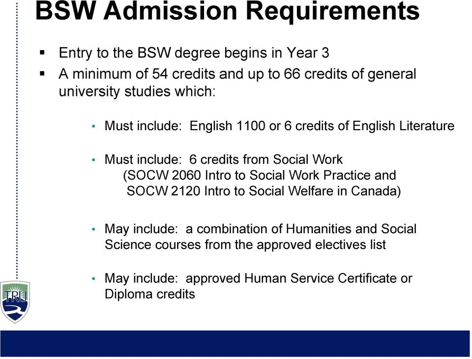 Work (SOCW 2060 Intro to Social Work Practice and SOCW 2120 Intro to Social Welfare in Canada) May include: a combination of