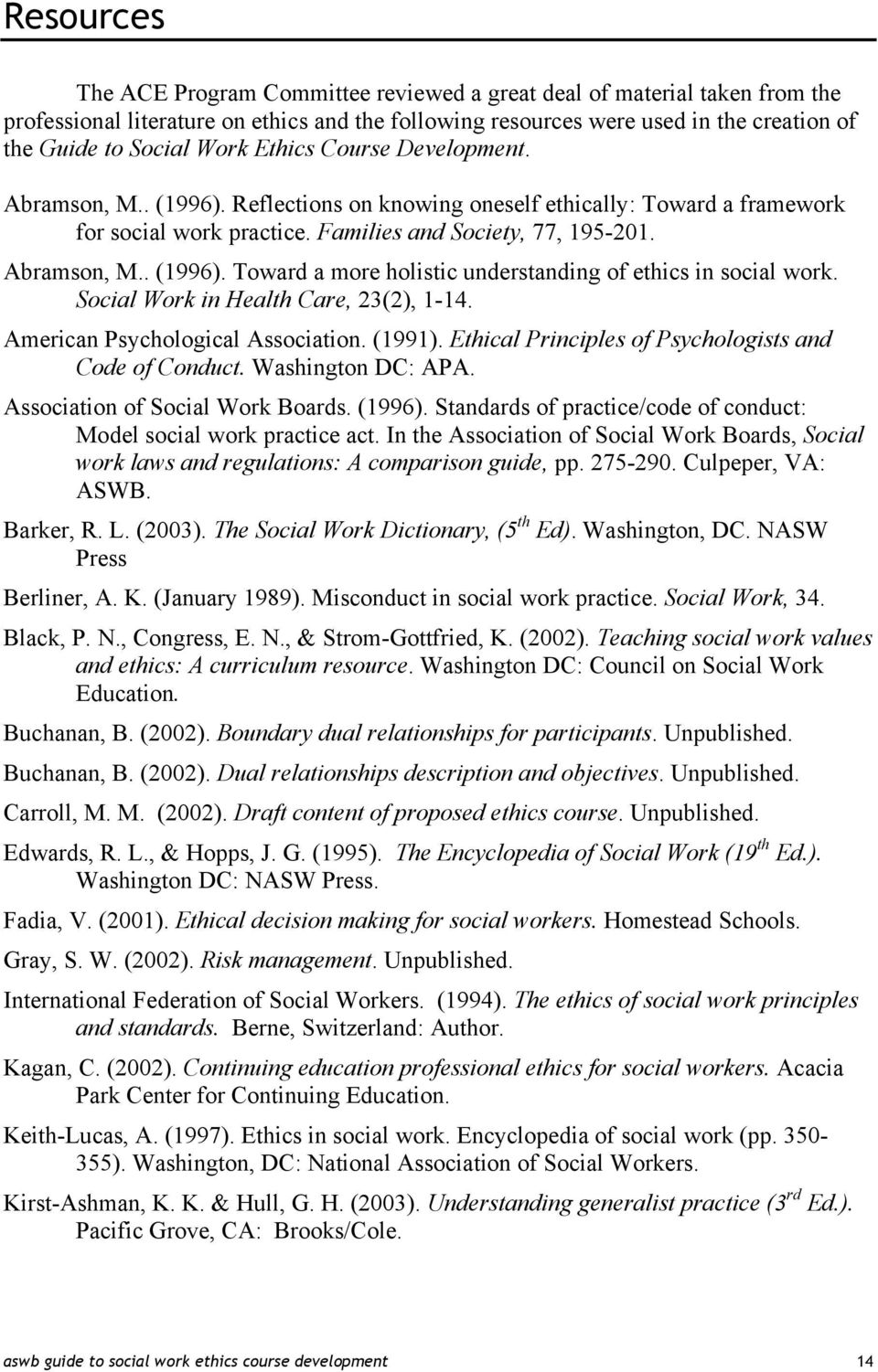 Social Work in Health Care, 23(2), 1-14. American Psychological Association. (1991). Ethical Principles of Psychologists and Code of Conduct. Washington DC: APA. Association of Social Work Boards.