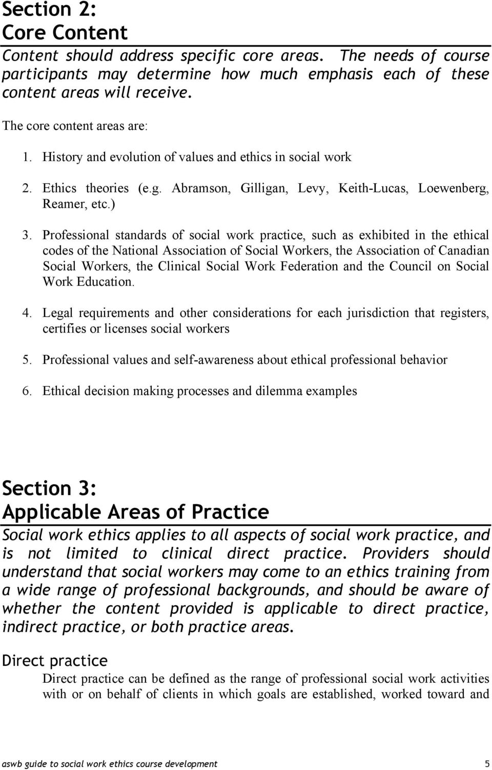 Professional standards of social work practice, such as exhibited in the ethical codes of the National Association of Social Workers, the Association of Canadian Social Workers, the Clinical Social