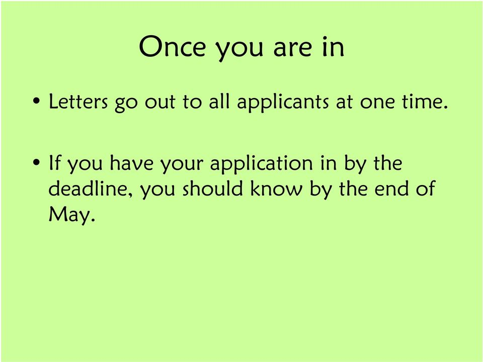 If you have your application in by