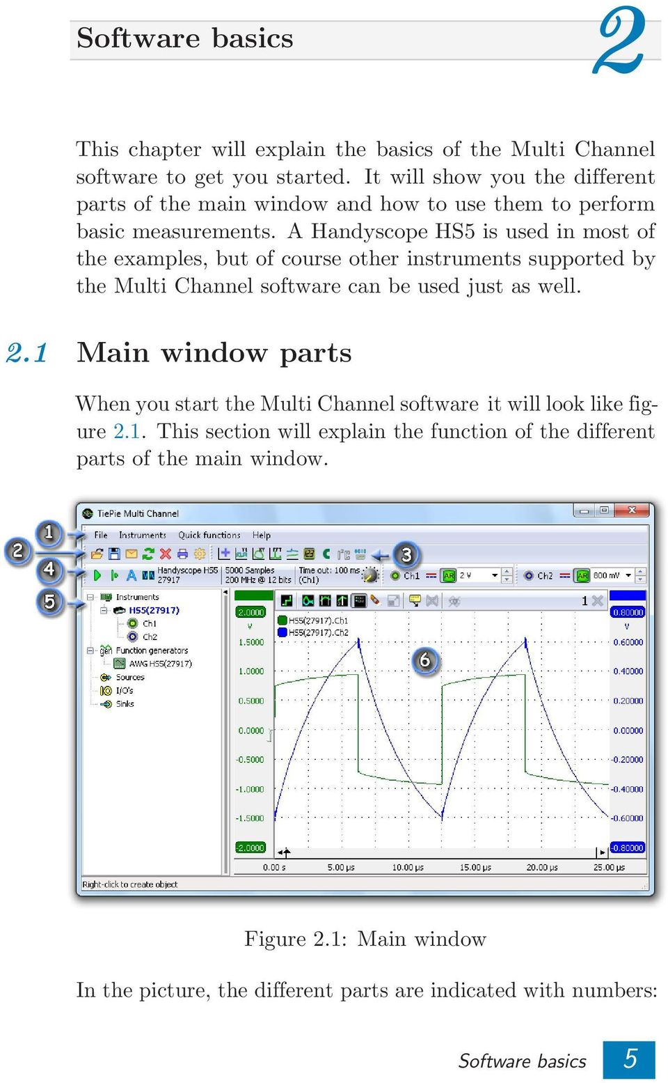 A Handyscope HS5 is used in most of the examples, but of course other instruments supported by the Multi Channel software can be used just as well. 2.