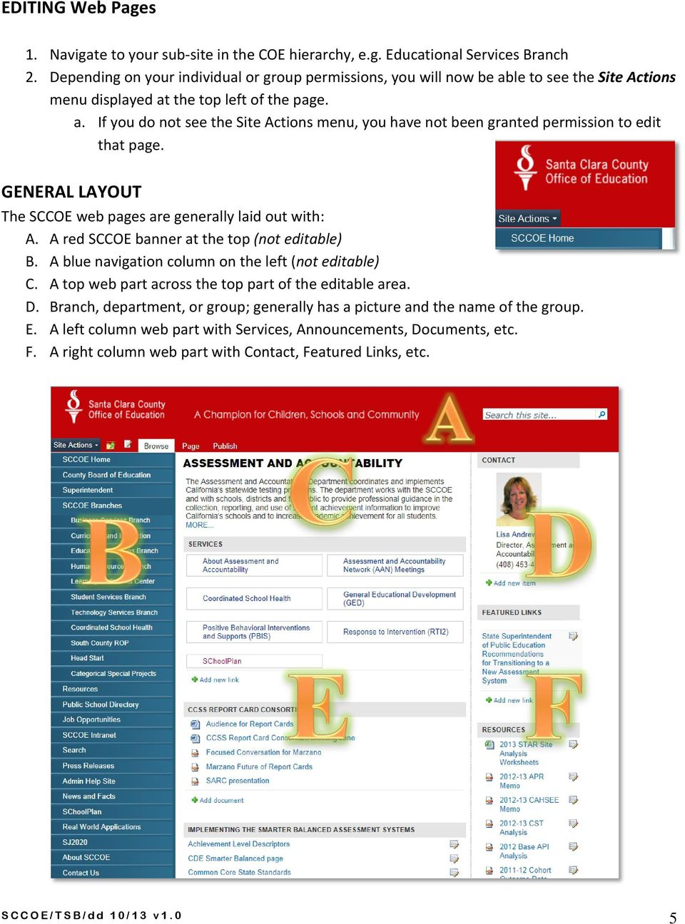 GENERAL LAYOUT The SCCOE web pages are generally laid out with: A. A red SCCOE banner at the top (not editable) B. A blue navigation column on the left (not editable) C.