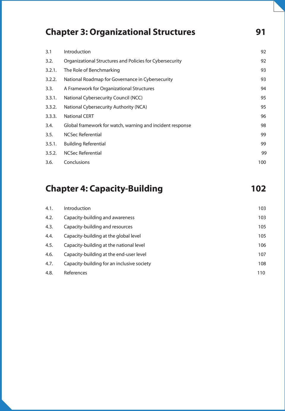 5. NCSec Referential 99 3.5.1. Building Referential 99 3.5.2. NCSec Referential 99 3.6. Conclusions 100 Chapter 4: Capacity-Building 102 4.1. Introduction 103 4.2. Capacity-building and awareness 103 4.