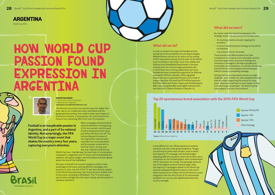 World Cup. According to this study, Coca-Cola, Adidas and Quilmes (local established brand leader in the beer market) were the most strongly associated with it.