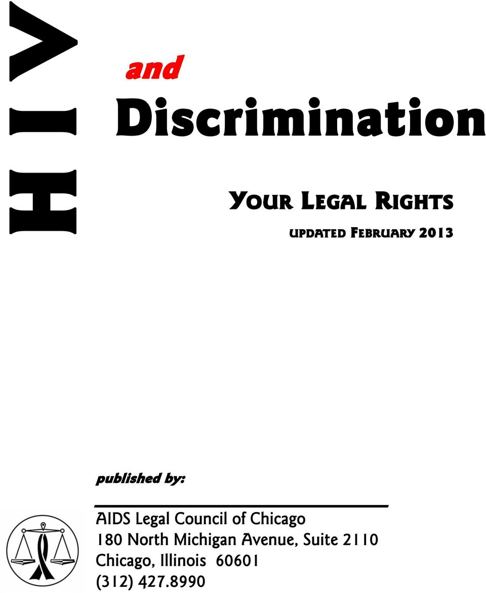 published by: AIDS Legal Council of Chicago 180 North