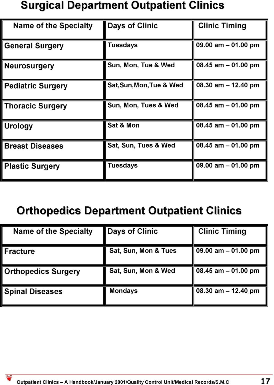 45 am 01.00 pm Plastic Surgery Tuesdays 09.00 am 01.00 pm Orthopedics Department Outpatient Clinics Name of the Specialty Days of Clinic Clinic Timing Fracture Sat, Sun, Mon & Tues 09.