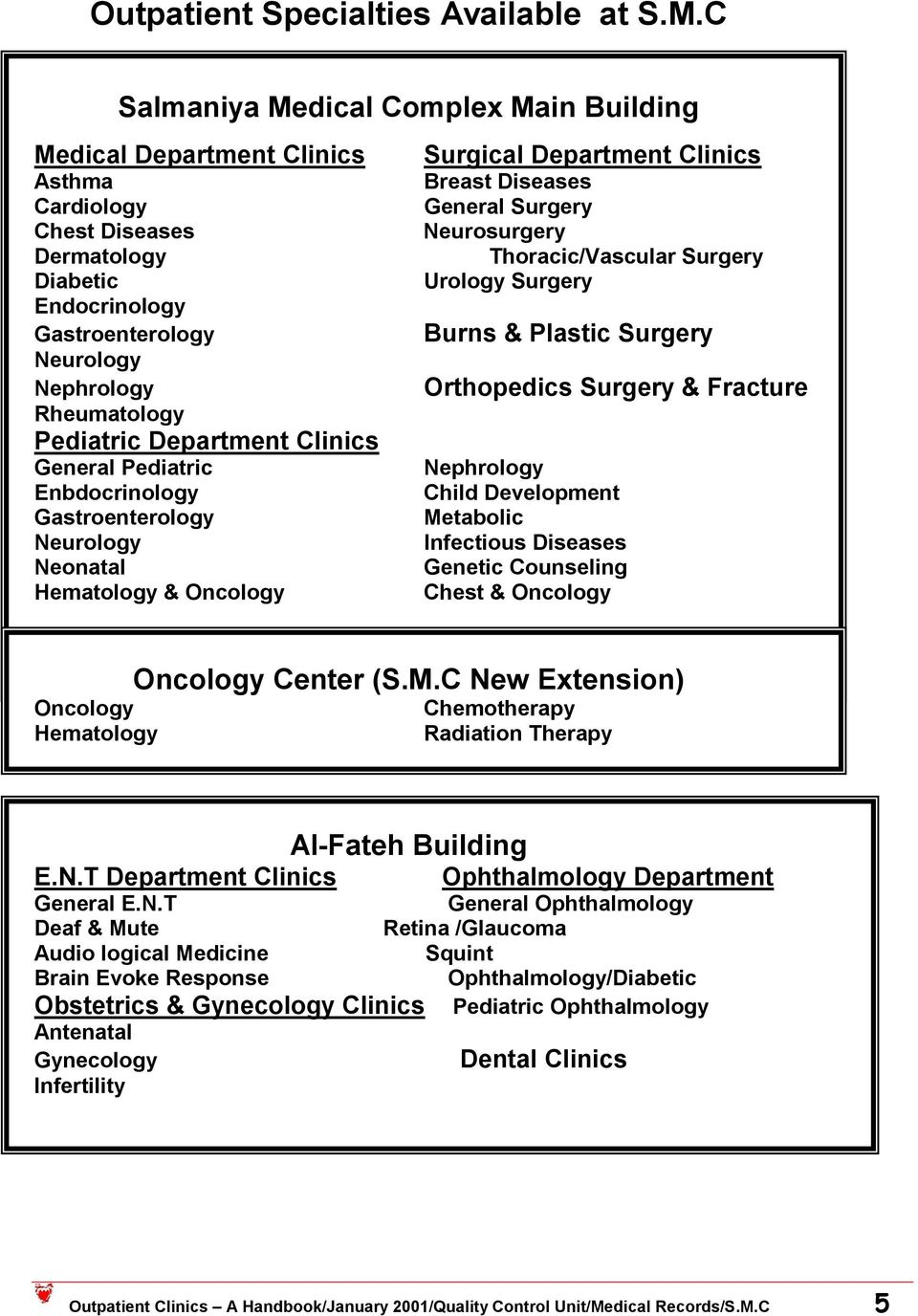 Department Clinics General Pediatric Enbdocrinology Gastroenterology Neurology Neonatal Hematology & Oncology Surgical Department Clinics Breast Diseases General Surgery Neurosurgery