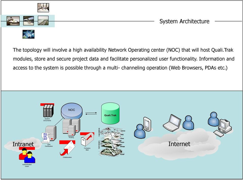 Information and access to the system is possible through a multi- channeling operation (Web Browsers, PDAs etc.