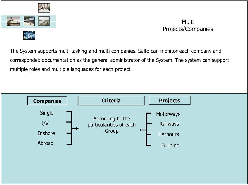 System. The system can support multiple roles and multiple languages for each project.