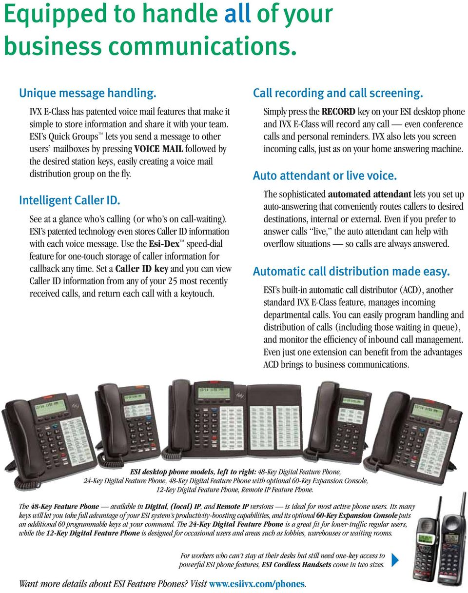 Intelligent Caller ID. See at a glance who s calling (or who s on call-waiting). ESI s patented technology even stores Caller ID information with each voice message.