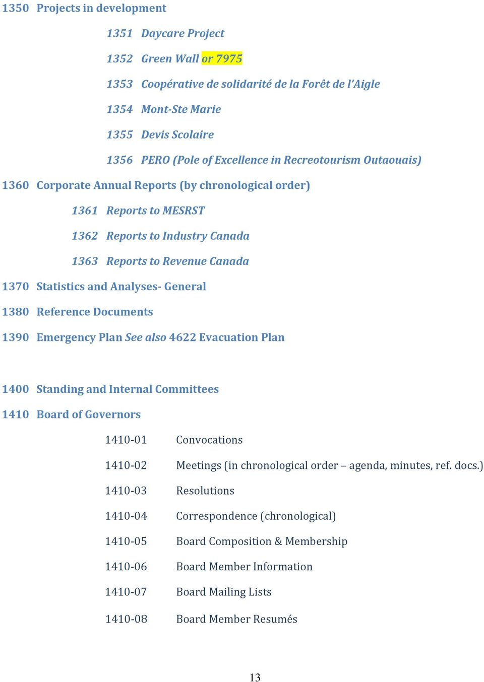 General 1380 Reference Documents 1390 Emergency Plan See also 4622 Evacuation Plan 1400 Standing and Internal Committees 1410 Board of Governors 1410-01 Convocations 1410-02 Meetings (in
