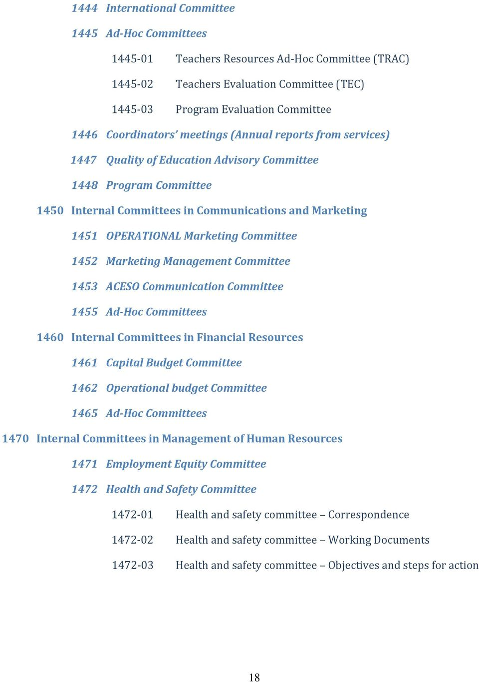 Marketing Committee 1452 Marketing Management Committee 1453 ACESO Communication Committee 1455 Ad-Hoc Committees 1460 Internal Committees in Financial Resources 1461 Capital Budget Committee 1462