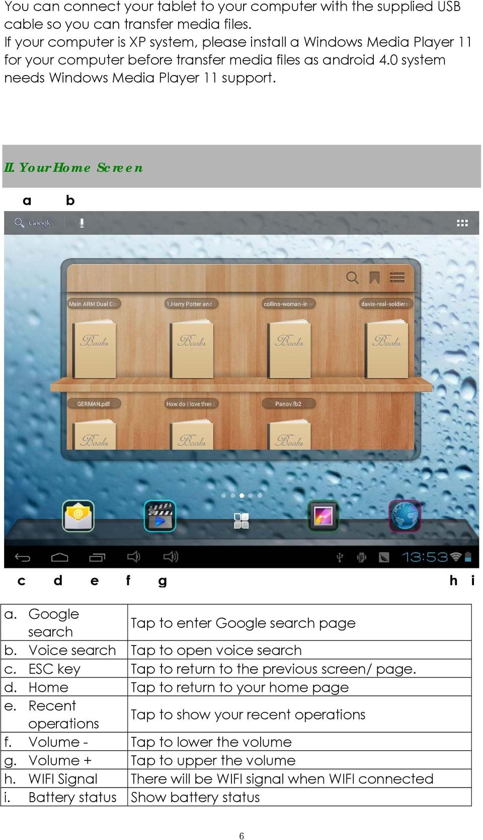 Your Home Screen a b c d e f g h i a. Google search Tap to enter Google search page b. Voice search Tap to open voice search c. ESC key Tap to return to the previous screen/ page. d. Home Tap to return to your home page e.