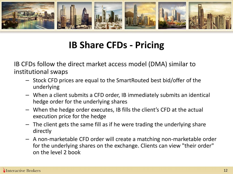 executes, IB fills the client s CFD at the actual execution price for the hedge The client gets the same fill as if he were trading the underlying share directly