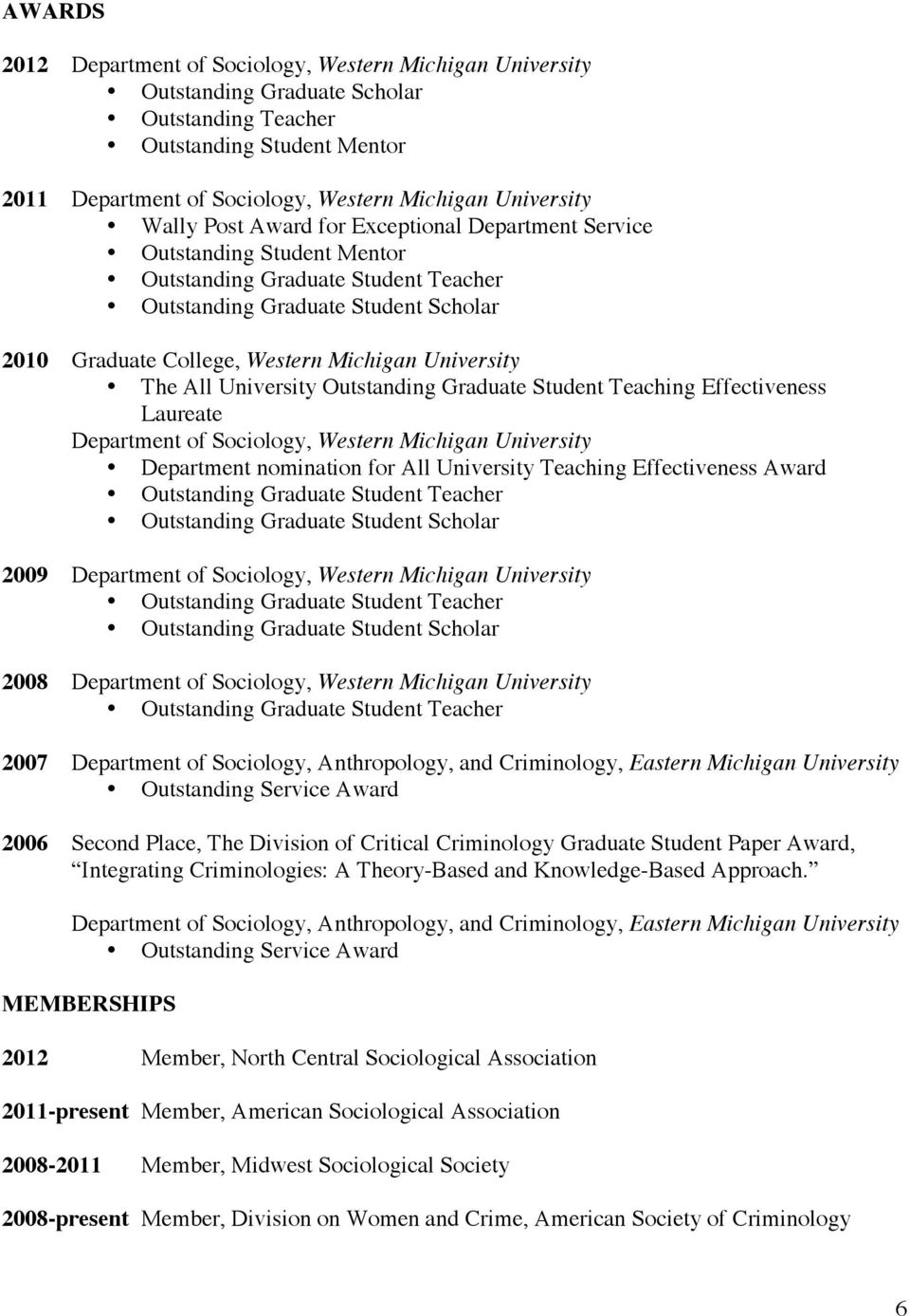 Graduate Student Teaching Effectiveness Laureate Department of Sociology, Western Michigan University Department nomination for All University Teaching Effectiveness Award Outstanding Graduate