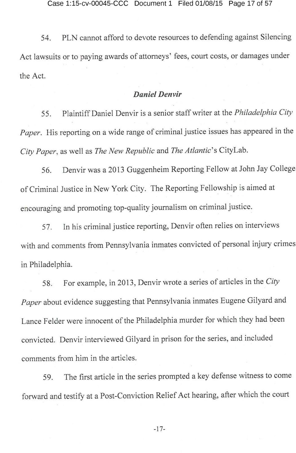 Plaintiff Daniel Denvir is a senior staff writer at the Philadelphia City Paper.