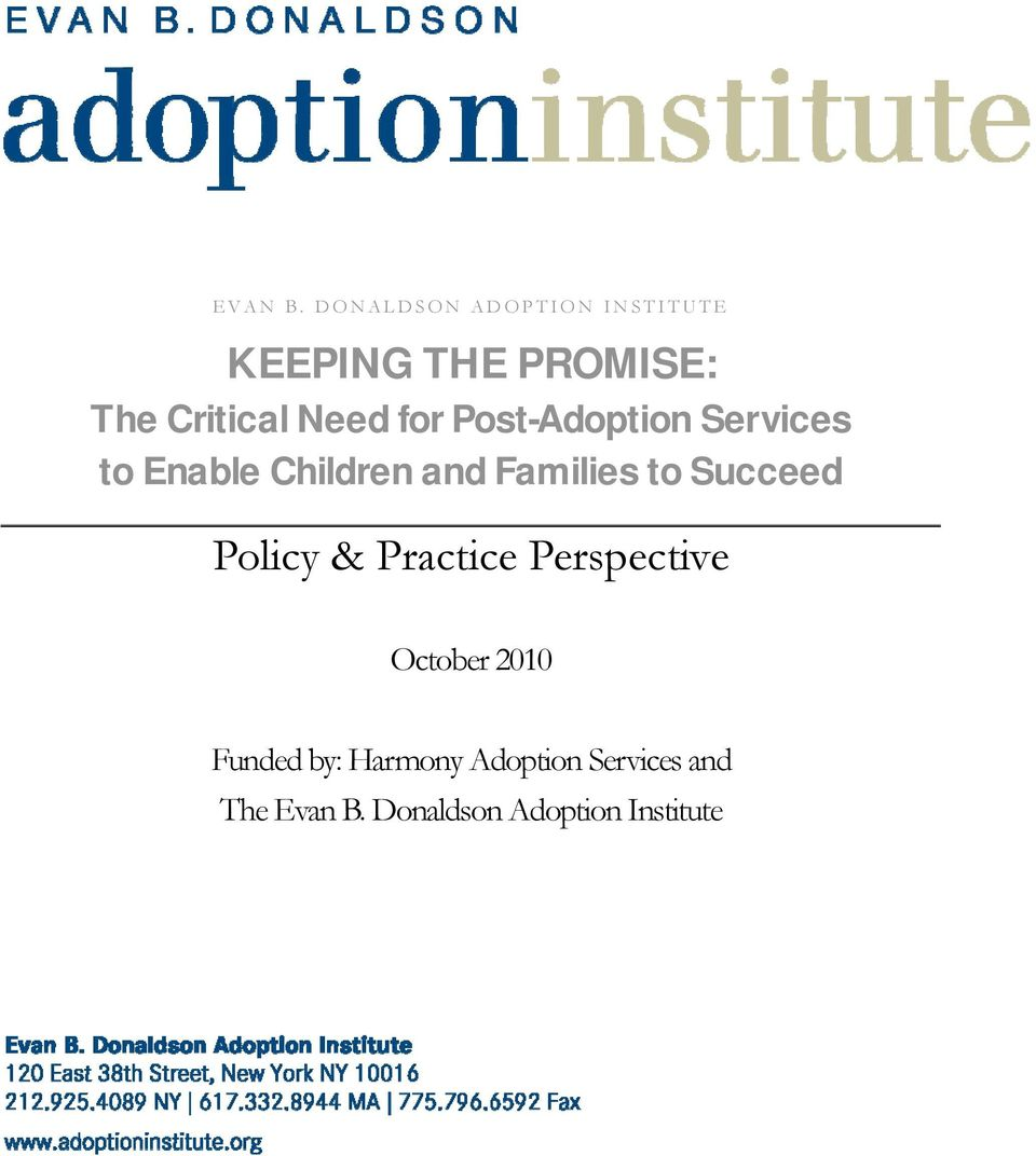 for Post-Adoption Services to Enable Children and Families to