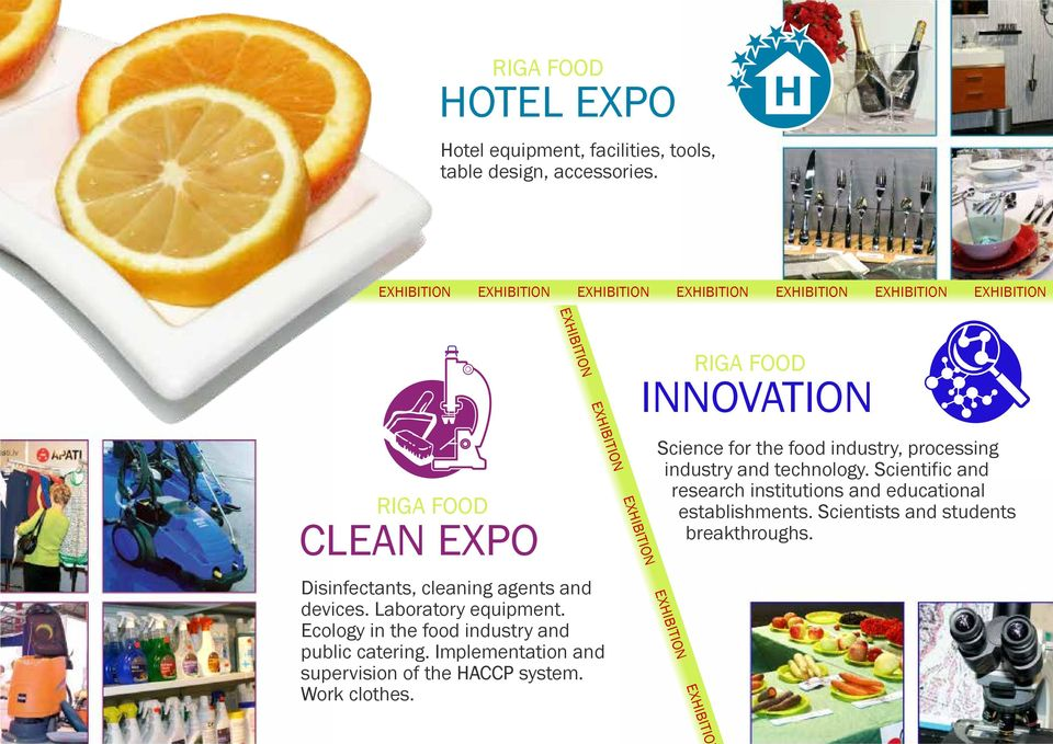 Disinfectants, cleaning agents and devices. Laboratory equipment. Ecology in the food industry and public catering.