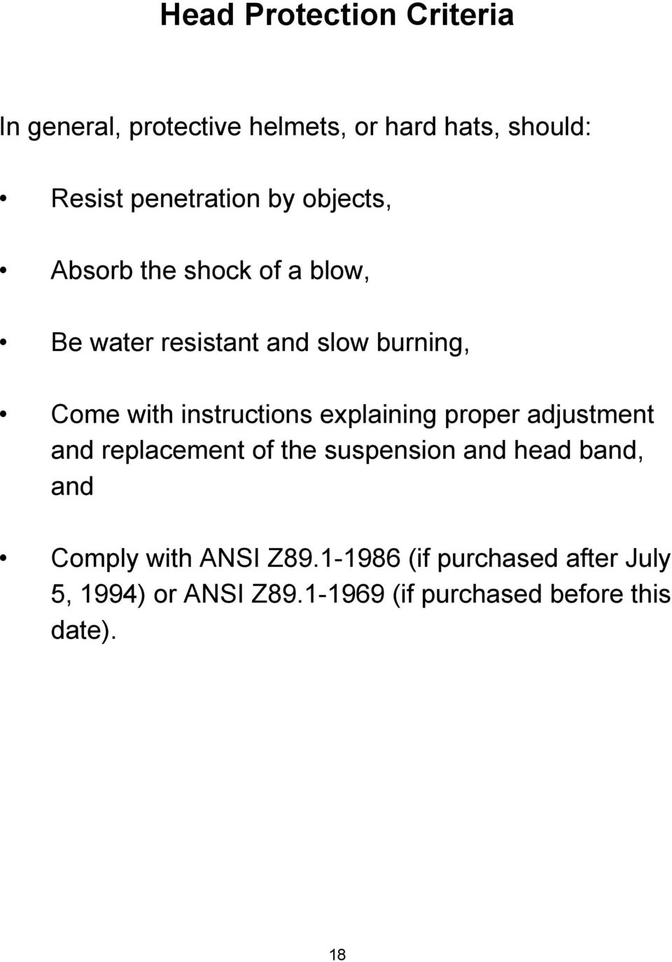 instructions explaining proper adjustment and replacement of the suspension and head band, and