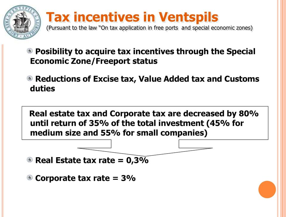 Value Added tax and Customs duties Real estate tax and Corporate tax are decreased by 80% until return of 35% of