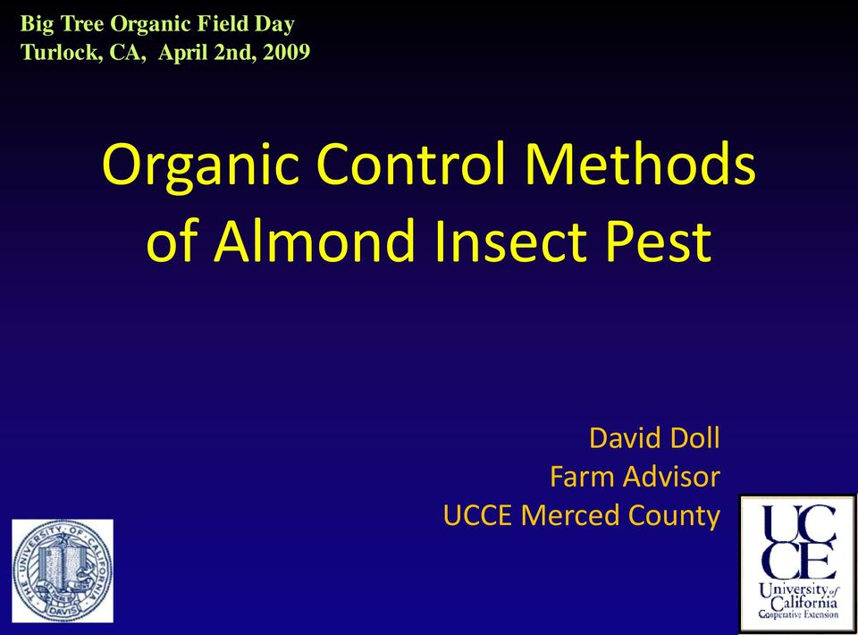 Methods of Almond Insect Pest David