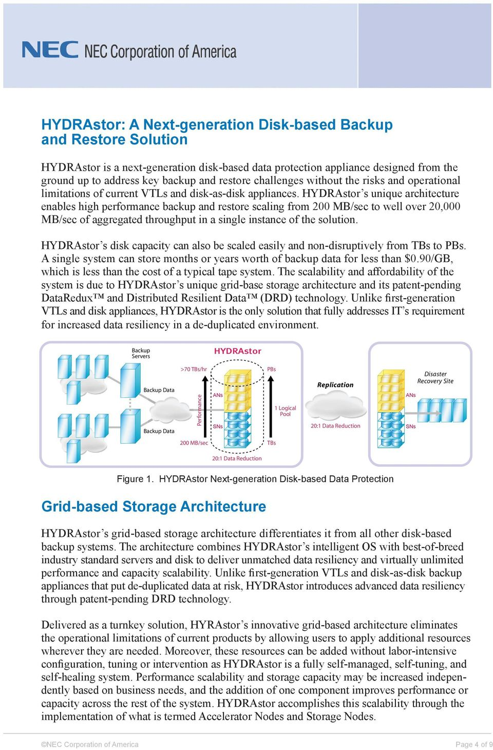 HYDRAstor s unique architecture enables high performance backup and restore scaling from 200 MB/sec to well over 20,000 MB/sec of aggregated throughput in a single instance of the solution.