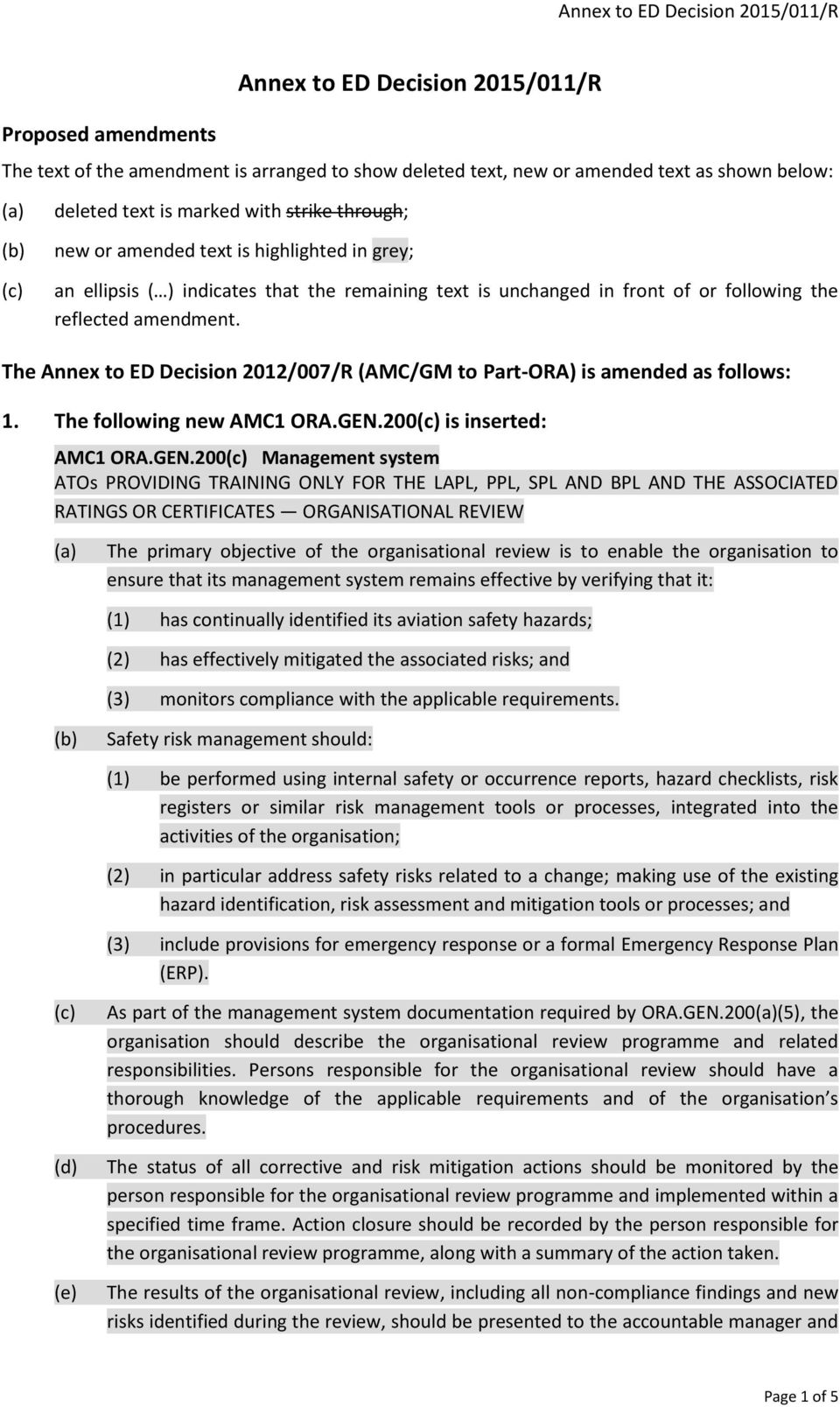 The Annex to ED Decision 2012/007/R (AMC/GM to Part-ORA) is amended as follows: 1. The following new AMC1 ORA.GEN.