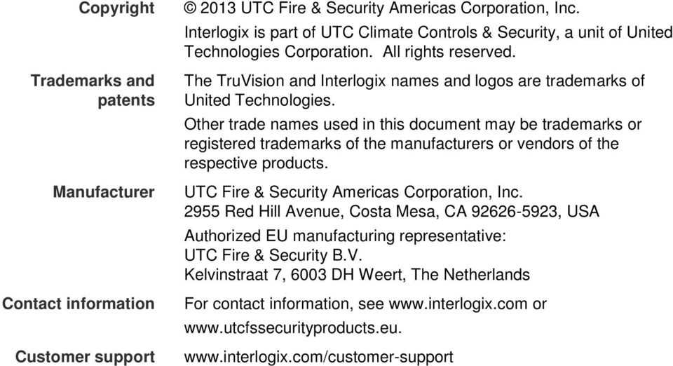 The TruVision and Interlogix names and logos are trademarks of United Technologies.