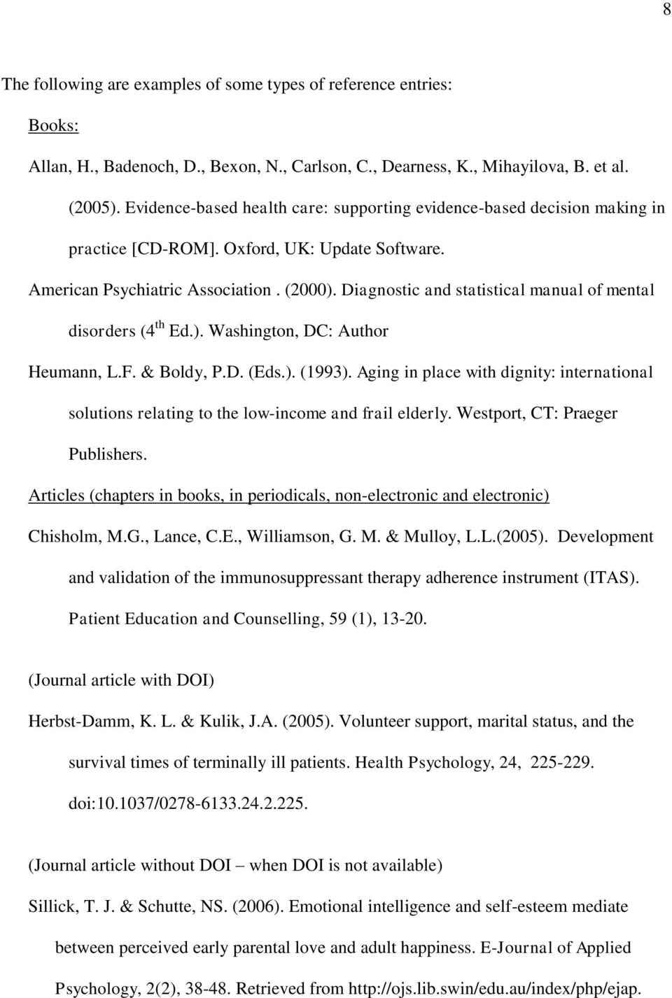 Diagnostic and statistical manual of mental disorders (4 th Ed.). Washington, DC: Author Heumann, L.F. & Boldy, P.D. (Eds.). (1993).