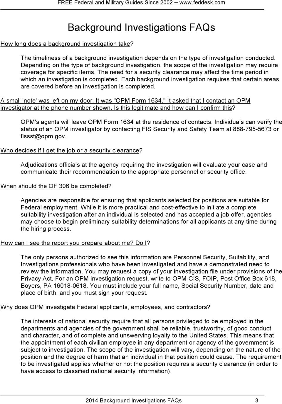 2014 Background Investigations FAQs - PDF