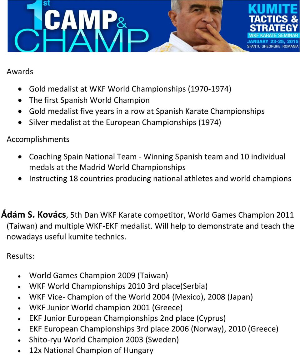 athletes and world champions Ádám S. Kovács, 5th Dan WKF Karate competitor, World Games Champion 2011 (Taiwan) and multiple WKF-EKF medalist.